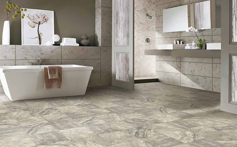 open concept bathroom with porcelain tile flooring